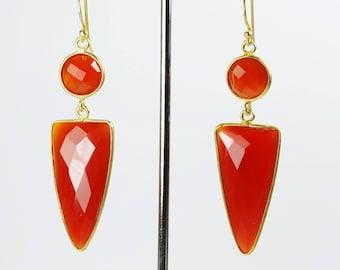 Silver Gold Plated Faceted Orange Carnelian Drop Dangle Earrings