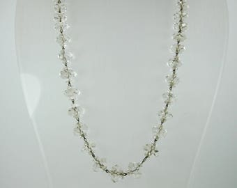 Vintage Edwardian Style (1890-1910) Silver and Clear Facated Crystal Beaded Necklace