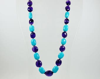 Minimalist Style (1970-Present) Amethyst and Turquoise Graduated Beaded Necklace