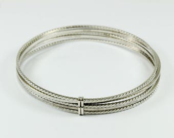 Boho Style Stacked Silver Bangle