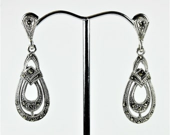 A Pair of Sterling Silver Art Deco Style Marcasite Tear Drop Stud Earrings