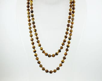 Mid Century Style (1933-1965) Sterling Silver Gold Plated Tiger's Eye Beaded Necklace