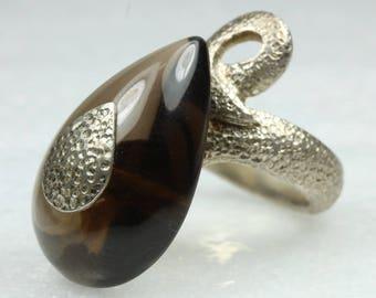 Avant Garde Sterling Silver Cabochon Smokey Quartz Ring Size: R-8 5/8