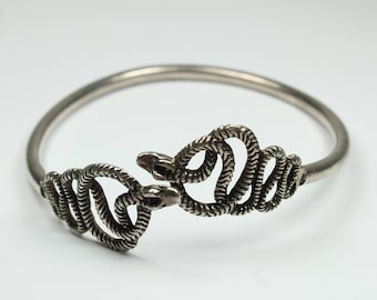Boho Style Sterling Silver Serpent Bangle