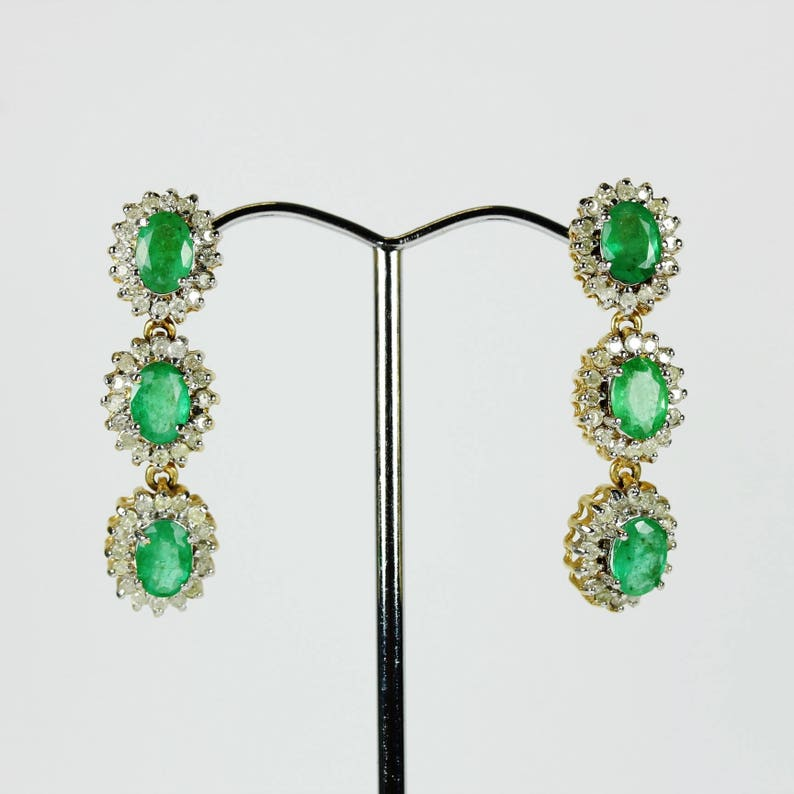 9ct Gold Real Emerald Drop Earrings New