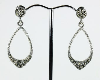 A Pair of Sterling Silver Art Deco Style Marcasite Loop Drop Stud Earrings
