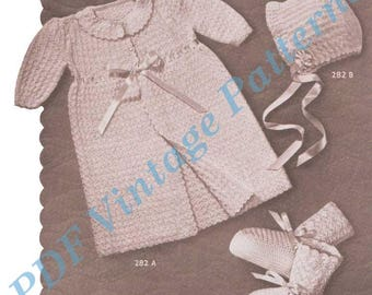 Christening Set No 282  Sizes 6 Months Crocheting Baby Clothes - PDF Immediate Download Patterns