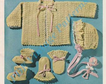 Sacque, Cap, Bootes and Mittens C-325. Infant Size  1  Crocheting Baby Clothes - PDF Immediate Download Patterns