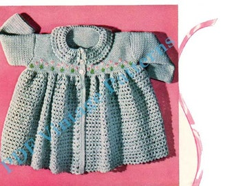 Flowered Sacque  C-328.   Knitting / Crocheting Baby Clothes - PDF Immediate Download Patterns