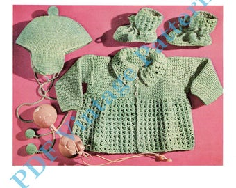 Sacque, Cap, and Bootes  C-326. Infant Size.   Crocheting Baby Clothes - PDF Immediate Download Patterns