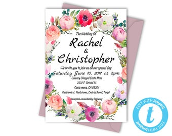 Floral Wedding Invitation Templates, Printable Wedding Invite, Instant Download, Floral Printable Invitation, Flower Wedding Template