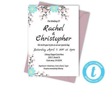 Blue Floral Wedding Invitation Templates, Printable Wedding Invite, Instant Download, Floral Printable Invitation, Flower Wedding Template