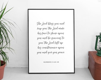 Numbers 6:24-26 - May the Lord bless you and keep you, Scripture Art, Bible Verse, Bible verse home wall art, Bible verse digital prints
