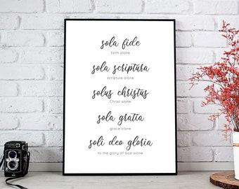 5 Solas Script Print, Five Solas Art Print, Reformed Theology, Sola Gratia, Sola Fide, Solus Christus, Sola Scriptura, Soli Deo Gloria Print