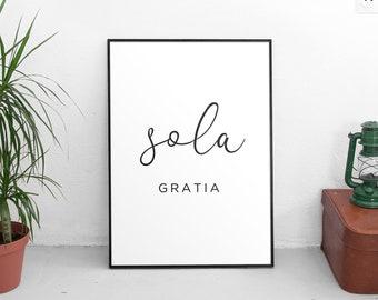 5 Solas Print Series, Five Solas Reformed Theology Poster, Sola Gratia, Sola Fide, Solus Christus, Sola Scriptura, Soli Deo Gloria Art Print