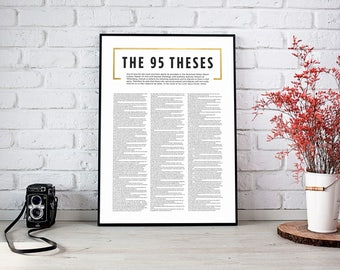 95 Theses Print,Martin Luther Print,Luther Quote,Reformed Theology,Reformers Art,5 Solas,Reformation printable,Christian art,Religous print