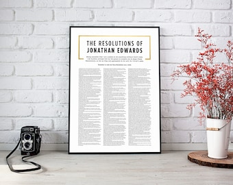 Jonathan Edwards Resolutions,Reformation 500,Christian artwork,Religous Art,Instant download,Wall art printable,Five Solas,Reformation Art