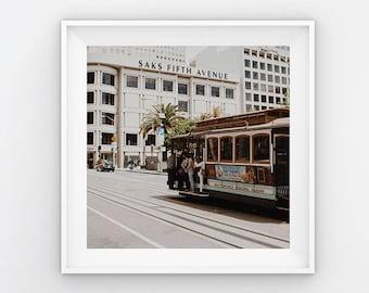NEW San Fransisco Trolley,Union Square(California Adventure Photo,Travel Photography,Wall Art,Printable Art,Digital Prints,Digital Download)