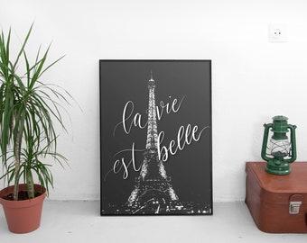 B&W Life Is Beautiful Paris Eiffel Tower Photograph (Eiffel Photo, Paris Photography,Wall Art Prints,Paris Digital Prints, Digital Download)