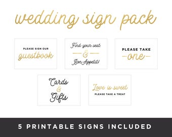 5x7 Printable Wedding Sign Pack | 5 signs included | PDF Printable Wedding Decor,Digital Instant Download, Guestbook Sign,Wedding decor