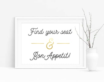 Find Your Seat Sign, Find Your Seat and Bon Appetit, Wedding Sign, Wedding Printable,Wedding Seating Sign,PDF Instant Download,Digital Sign