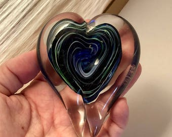 Handblown Glass Heart - Blue, Green, and White