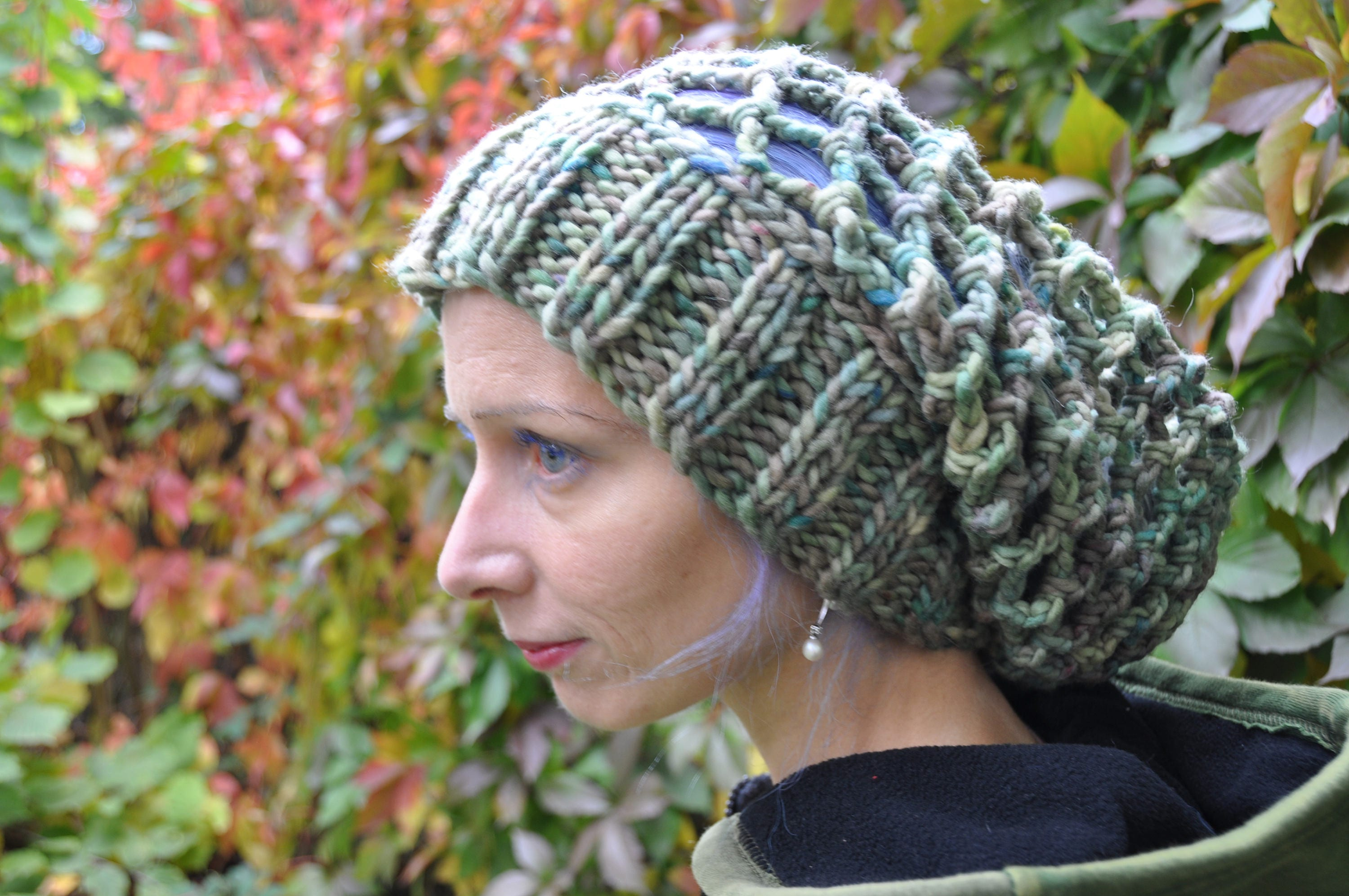Crochet Slouchy Hat From Hand Dyed Wool Dreadlock Tam Etsy