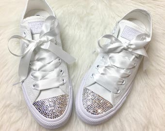 c9bd484f563a Swarovski Crystal CONVERSE Bling Women's Wedding crystal sneakers
