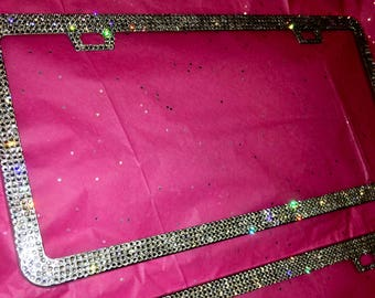 Bling License Plates Stainless Steel Frame Hand Encrusted with Swarovski Crystals
