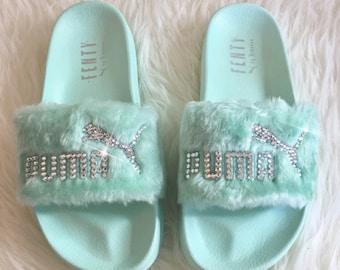 e34377ac8696 Rihanna s Bling Custom Women s Puma Fenty Fur Slides In Pastel Green With  Beautiful Swarovski Crystals- Limited Edition !