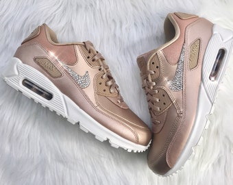 purchase cheap 32d05 bf509 ... official bling rose gold custom nike air max 90 premium shoes with  diamond swarovski crystals ac017