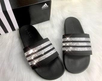 38e89b3c88940 Swarovski Crystal Adidas Black Slides Women s Custom Bling Slides