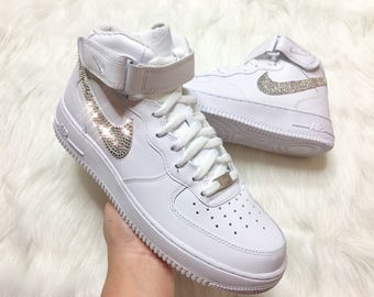 ... purchase cheap eb454 55731 Swarovski Crystal Bling Nike Air Force One  In White With Swarovski Crystals ... 0cd0856d6c14