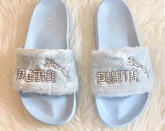 13e79d9bed16 Rihanna s Bling Custom Women s Puma Fenty Fur Slides In Pastel Blue With  Beautiful Swarovski Crystals Limited Edition