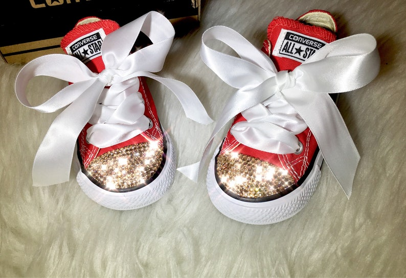 52fe108a2c293 Baby Swarovski Red Converse Customized With Gold Swarovski Diamond Crystals  Sneakers For Baby And Toddlers