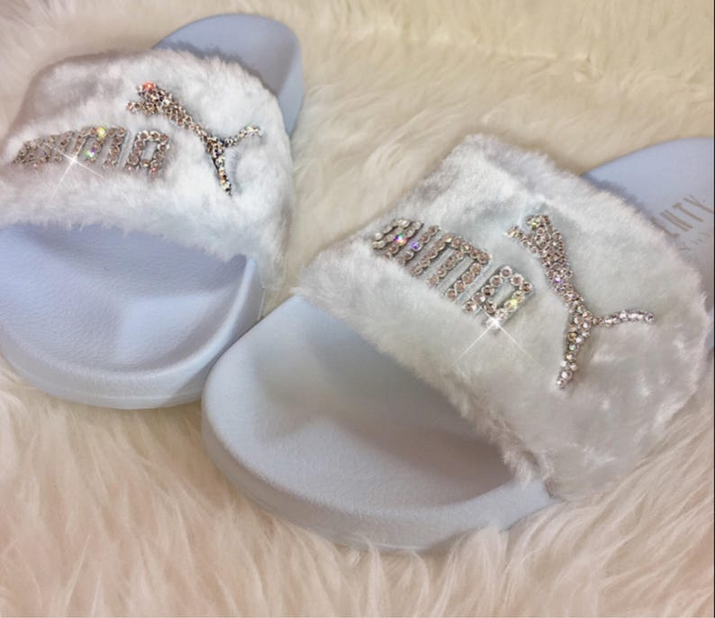 f5d33c7652f Rihanna s Bling Custom Women s Puma Fenty Fur Slides