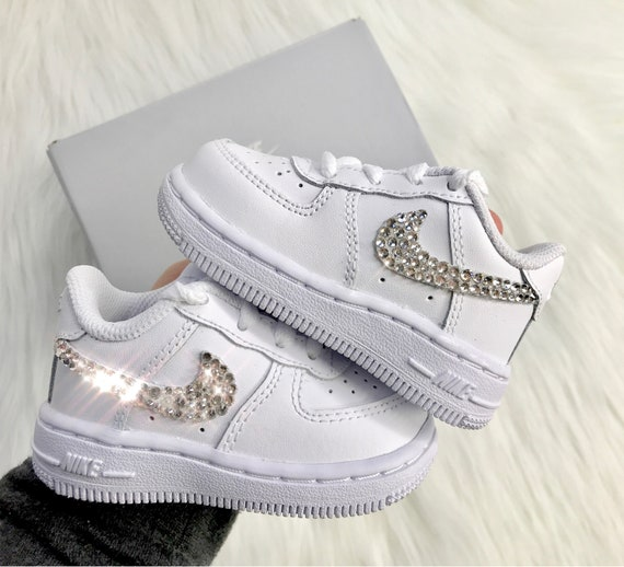 innovative design ffb7f 2a84d Baby Bling Nike Air Force 1 Low With Swarovski Diamond   Etsy