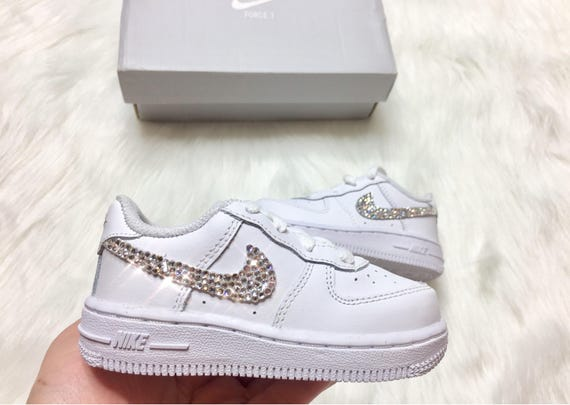 Bling Nikes Baby Kicks Toddler Nike Air Force 1 Low Customized With Swarovski Crystals