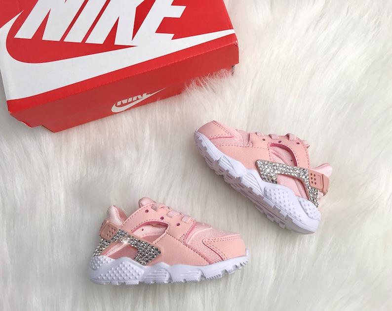 Bling Swarovski Nike Huarache Pink Customized With Swarovski  ee67053a0367