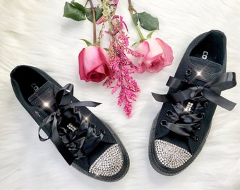 Swarovski Converse All Black With Beautiful Swarovski Crystals - women's bling sneakers wedding Converse Chuck Taylor All Star