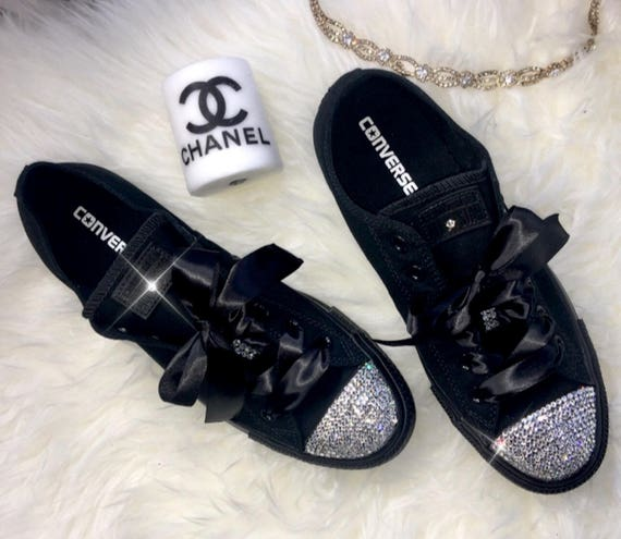 d2ce0c77513ea Swarovski Crystal Custom Converse In Black With Beautiful Swarovski  Crystals - women's bling sneakers wedding Converse Chuck Taylor All Star
