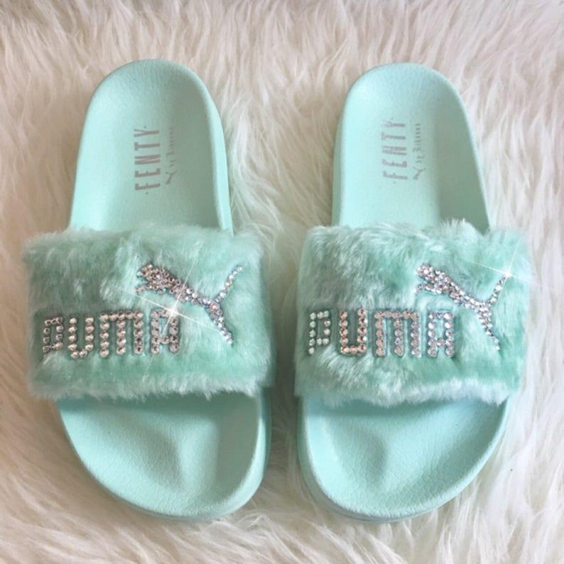 reputable site 07666 b4bd0 Rihanna's Bling Custom Women's Puma Fenty Fur Slides In Pastel Green With  Beautiful Swarovski Crystals- Limited Edition !