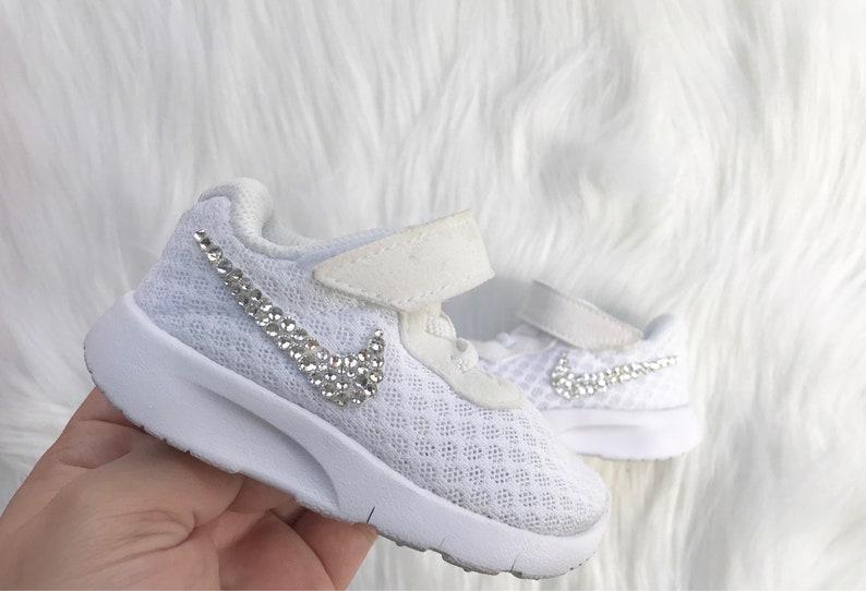 Bling Nike Baby Tanjun White Toddler Custom Swarovski Crystal  535477e2cd
