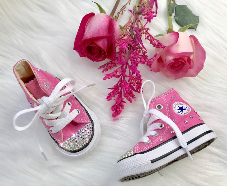 1b4dfe9d4309 Swarovski Converse Pink Baby Bling Toddler High Top Converse