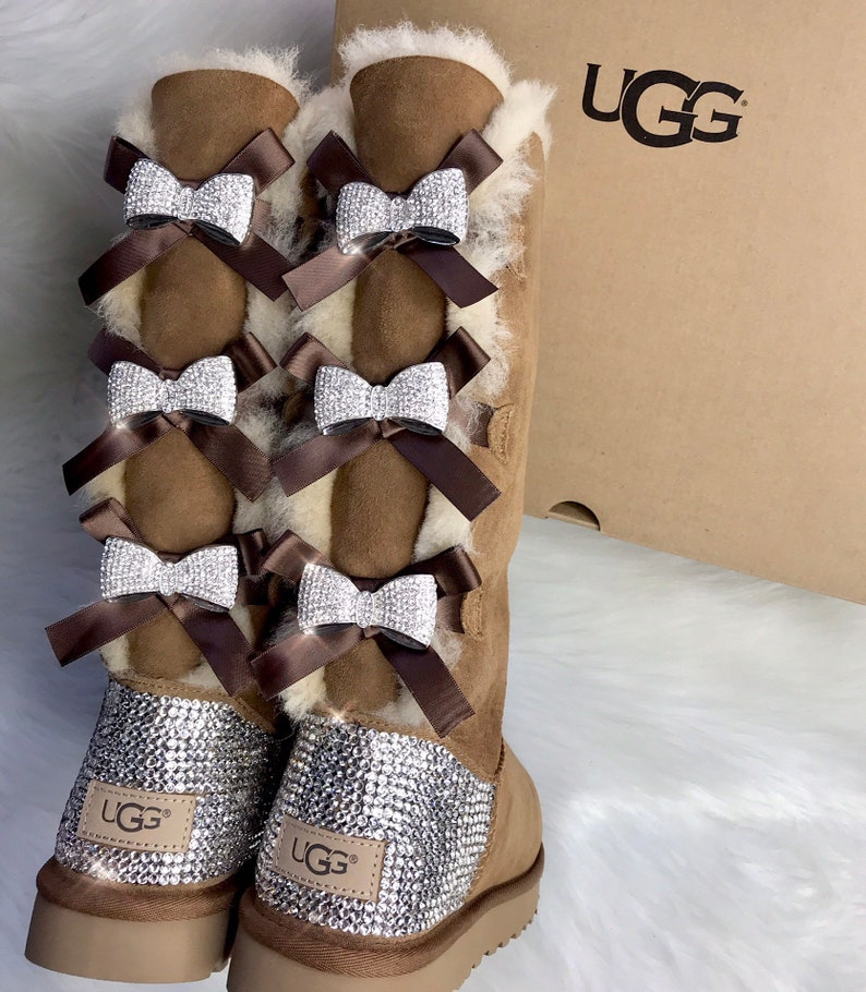 1e5676d412d Bling Ugg Swarovski Crystal Custom Women's Bailey Bow Tall II Ugg Boots  With Crystal Bows