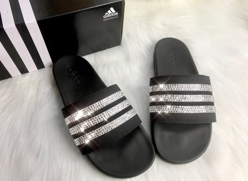 1127b8c0473cf Swarovski Crystal Adidas Black Slides Women s Custom Bling