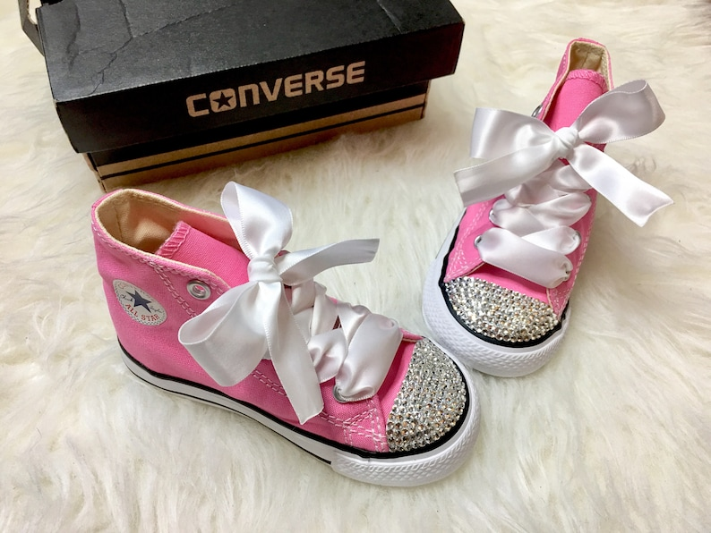 1795396c18804 Baby Bling Converse Customized With Swarovski Diamond Crystals Sneakers For  Baby And Toddlers