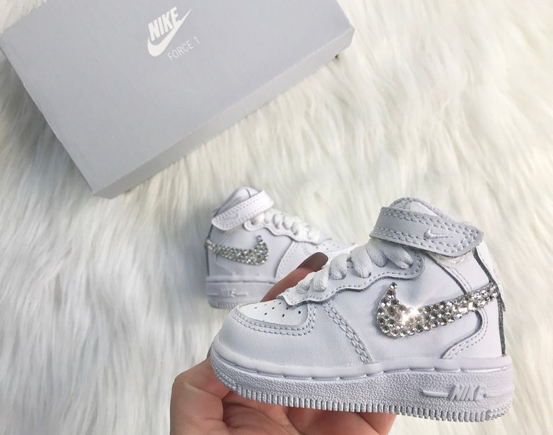 5c0bf557bd Bling Nikes Baby Toddler Nike Air Force 1 Customized With | Etsy