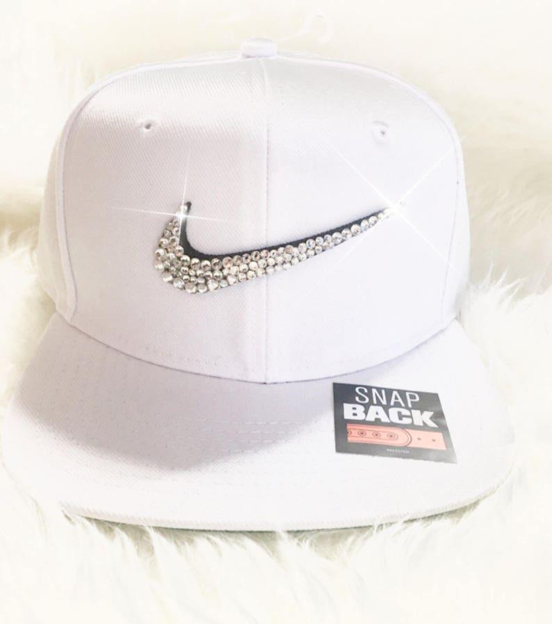Swarovski Nike Snap Back White Nike Cap With Swarovski  96e15acaa