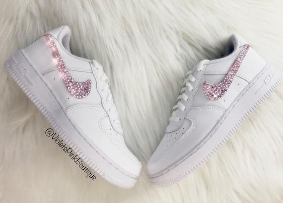 espada extremadamente Floración  Women's Custom Pink Swarovski Nike Air Force One | Etsy